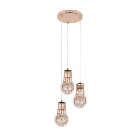 Bulb Suspensie cupru 3xE27 60W, sticla