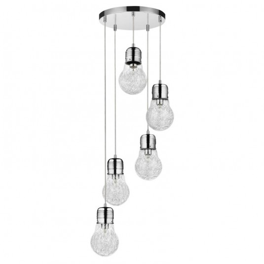 Bulb Lustra 5x60W, E27, chrom, sticla