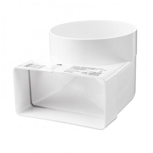 VENTS Cot 90 grade conectare tub rotund/rectangular PVC, 110*55mm, diam 100mm - SKU 521