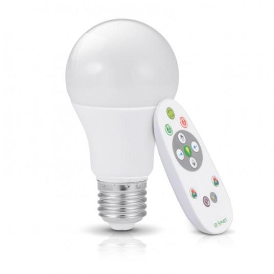 Bec LED RGB 7W E27 cu telecomanda Bluetooth, 3000K - SKU KAGSE277WRGBL