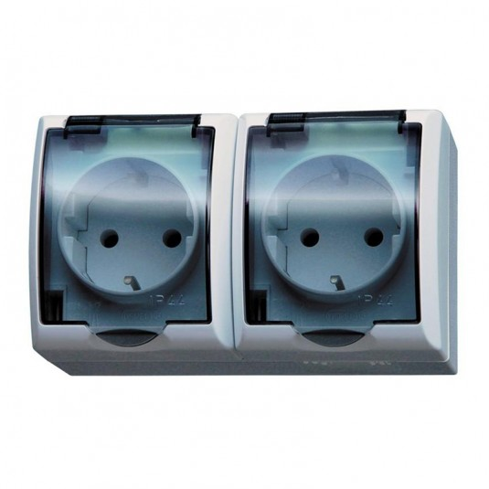 FALA Priza dubla schuko IP-44 capac transparent