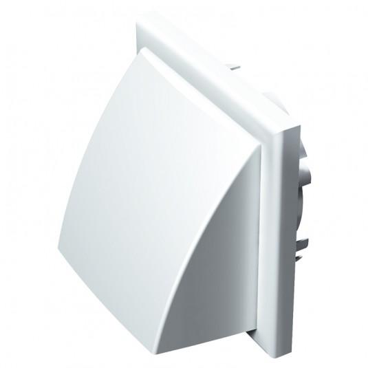 VENTS Grila PVC alba, antiploaie, cu clapeta 154*154mm, racord diam 100/125/110*55mm