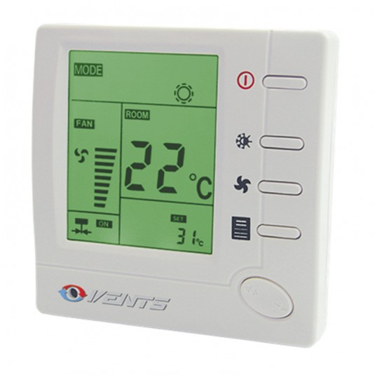 VENTS Termostat +10...+30C, cu variator de turatie 3 viteze, LCD, max 2A, max 400W, 230V