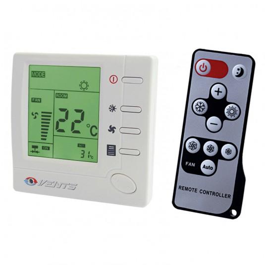 VENTS Termostat ventiloconvector +10...+30C, 3 viteze, LCD, max 2A, max 400W, 230V, cu telecomanda - SKU RTSD-1-400