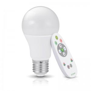 Bec LED RGB 7W E27 cu telecomanda Bluetooth, 3000K