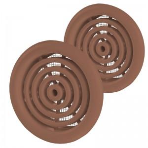 VENTS Set 2 grile usa diam 50mm, ABS - cercuri concentrice cu plasa maro inchis