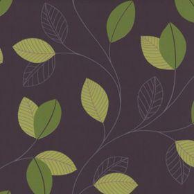 Tapet netesut Jewel - indigo cu frunze verzi
