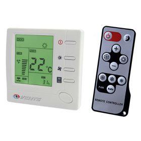 Termostat ventiloconvector +10...+30C, 3 viteze, LCD, max 2A, max 400W, 230V, cu telecomanda
